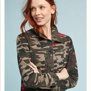 Anthropologie Floral Embroidery Camo Jean Jacket